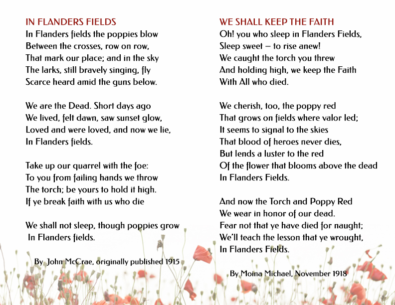 In Flanders Fields and We Shall Keep the Faith Poems
