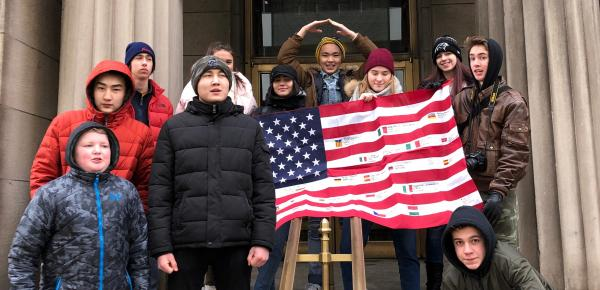 Students with an American flag