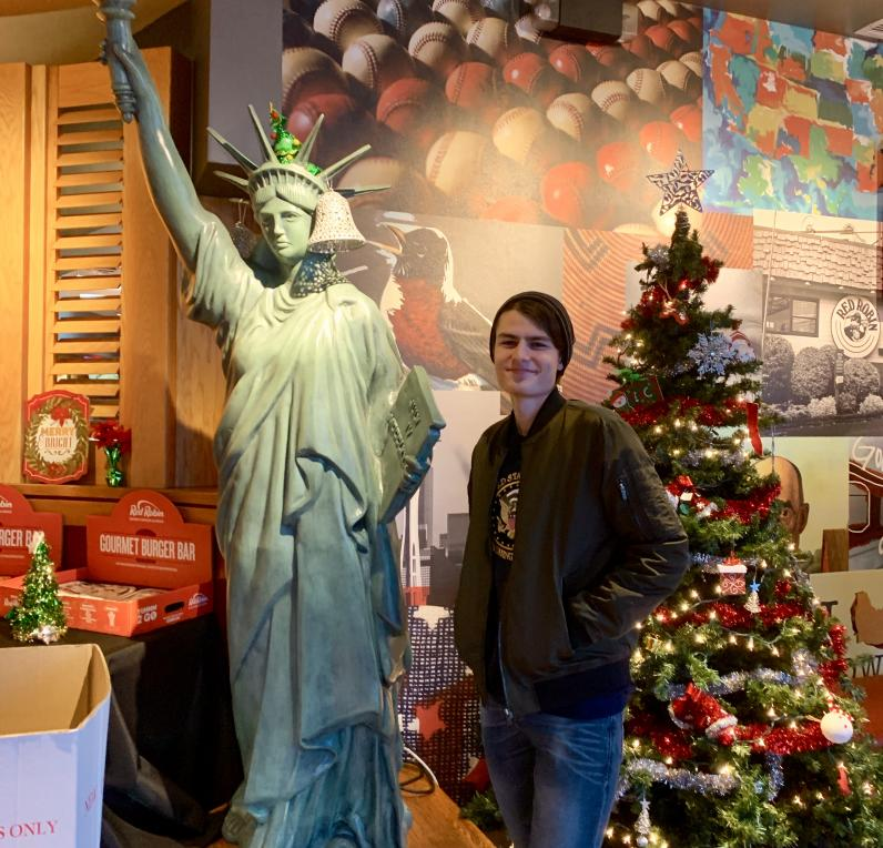 Student at mini statue of liberty